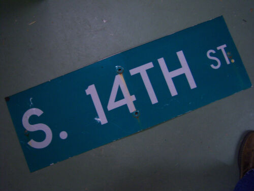 """Vintage ORIGINAL S. 14TH ST. STREET SIGN 36"""" X 12"""" WHITE LETTERING ON GREEN"""