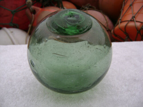 (#385) 4.77 INCH GLASS FLOAT BALL BUOY BOUY WP#24 SMILEY