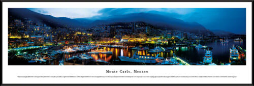 Monte Carlo Monaco City Night Skyline French Riviera Framed Poster Picture