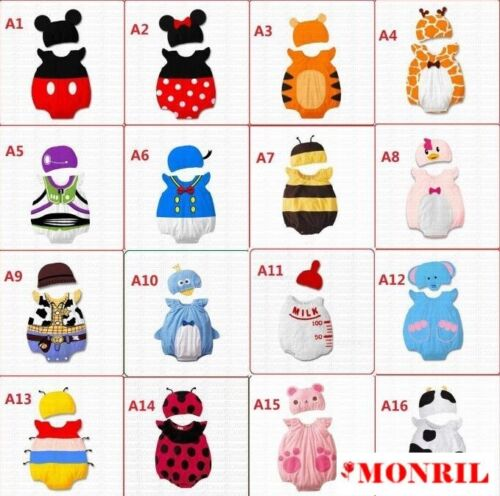 NEW Baby Boy Girl Cute Animals Costume Clothes Romper Outfit Set Size 000,00,0,1