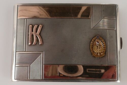 POLAND/POLISH SILVER CIGARETTE CASE WITH PERSONAL INSCRIPTION TO COLONEL