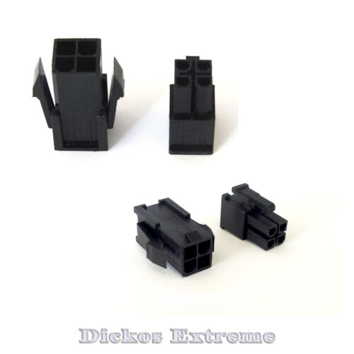 4 PIN ATX EPS Motherboard Power Supply Connector Set 1 x Male & 1 x Female Black