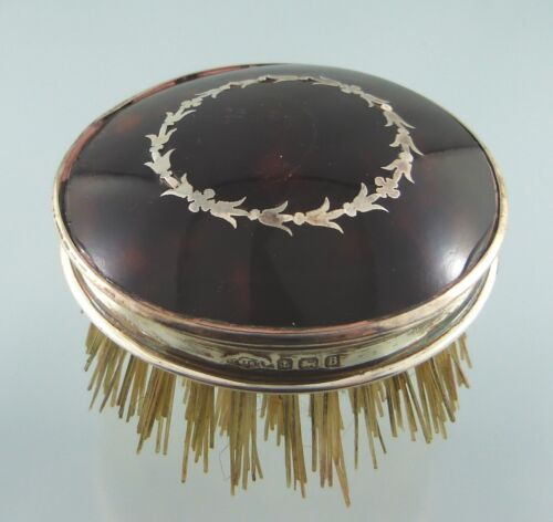 STERLING SIL. INLAID & SHELL ROUND BRUSH WOOD BRISTLES BY LS&CO BIRMINGHAM 1926