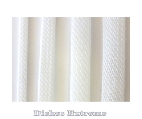 White PET Expandable Braided Cable Sleeving  9mm  --  1 meter length.