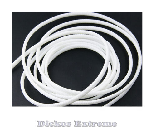 2 Meters x 1.5mm WHITE PET Expandable Braided Cable Sleeving -SOLD PER 2 METERS