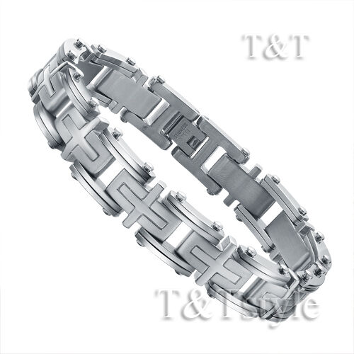 Quality T&T Stainless Steel Cross Link Bracelet (BBR168)