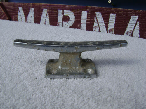 4+1/2 INCH OLD CHROME SHIP BOAT DOCK CLEAT CHOCK (#0375)