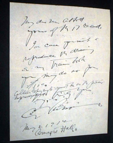 1912 CHARLES DANA GIBSON HANDWRITTEN NOTE FROM CARNEGIE HALL