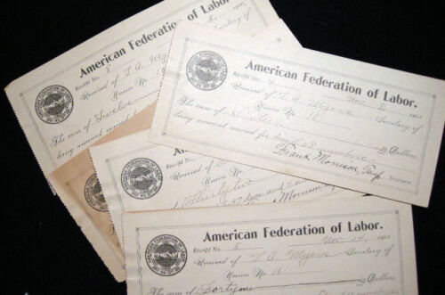 1900 GROUP OF FRANK MORRISON AMERICAN FEDERATION OF LABOR SIGNED RECEIPTS