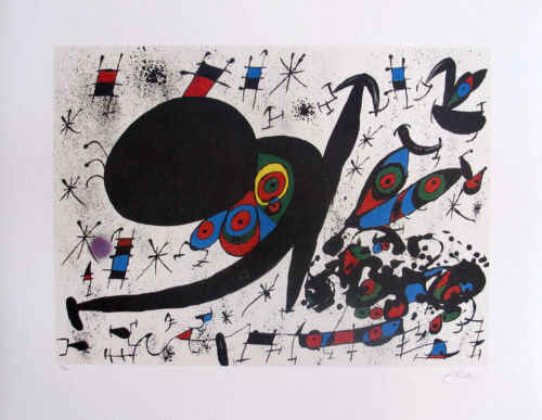 """JOAN MIRO """"HOMAGE TO JOAN PRATS"""" Signed Limited Edition Lithograph Art"""