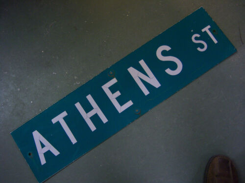 "Vintage ORIGINAL ATHENS ST STREET SIGN WHITE ON GREEN BACKGROUND 36"" X 9"""
