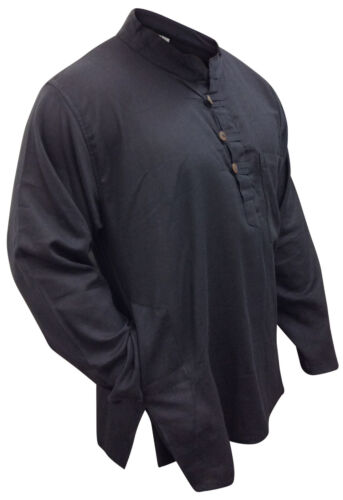 Mens Plain Collarless Grandad Cotton Shirt,Loose Fit Full Sleeved,Festival Top