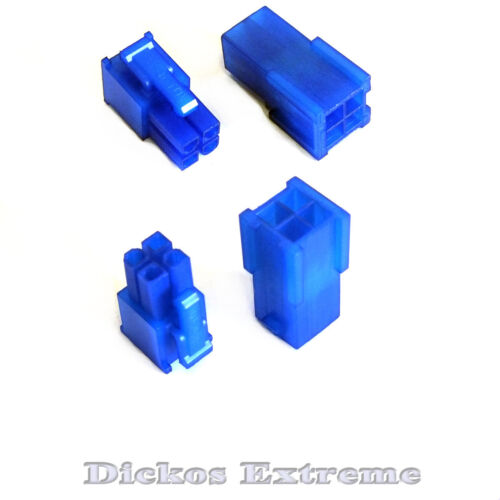 4 PIN ATX Motherboard Power Supply Connector Set 1 x Male & 1 x Female UV Blue