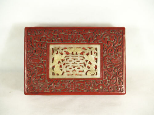 Antique Chinese Hand Carved Cinnabar Box with old hard stone plaque Jade?