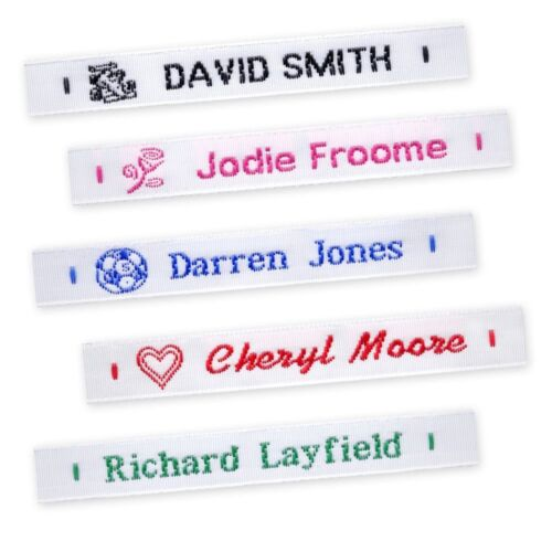 72 Woven Name Labels Sew In School Name Tags Tapes <br/> Quality woven name tapes. Choice of Colours and Motifs
