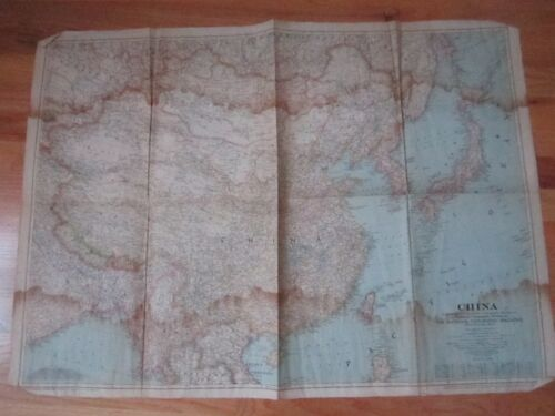 """1945 NATIONAL GEOGRAPHIC MAP OF CHINA - 36"""" X 26"""" -"""