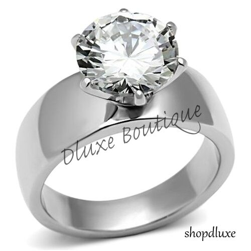 Beautiful Round Cut Stainless Steel CZ Engagement Ring Band Women's Size 5-10