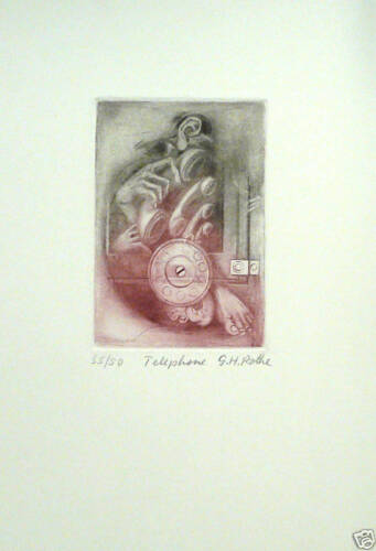 Limited Ed Mezzotint Telephone Hand Signed by G.H Rothe