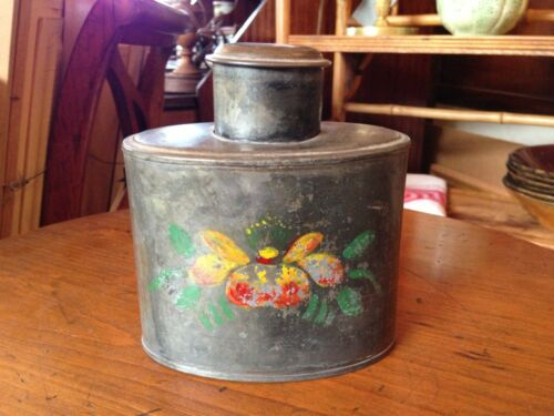 American Pewter Hand Painted Tole Ware Tea Caddy Early 19th Century Folk Art