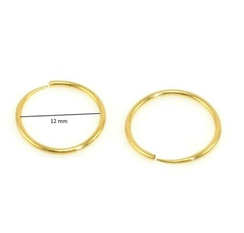 18K Gold Filled Sleeper Earrings 12 mm diameter-No Hinged--Non allergenic