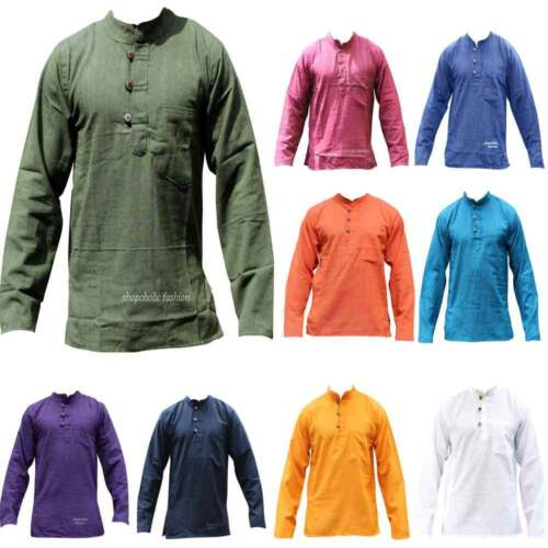 Mens Light Plain Collarless Casual Festival Hippie Full Sleeved Grandad Shirt  <br/> Comfy Traditional Ethnic100% Cotton Nepalese Kurtha Top