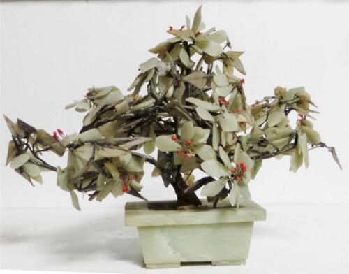 Antique Chinese Green Jade-like Miniature Tree w Coral-like Flowers in Pot