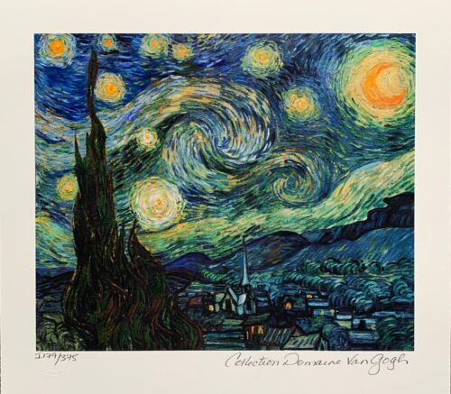 """VINCENT VAN GOGH """"STARRY NIGHT"""" Estate Signed Limited Edition Small Giclee Art"""