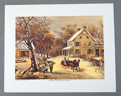 Vintage 1970's Currier and Ives American Homestead Winter Print