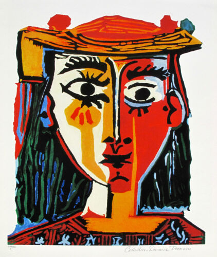 """Pablo Picasso BUST OF A WOMAN WITH HAT Estate Signed Ltd Edition Giclee 26"""" x 20"""