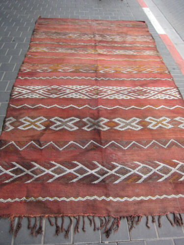 VINTAGE ANTIQUE MOROCCAN WOOL KILIM RUG HAND MADE 270x153-cm / 106.2x60.2-inches