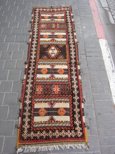 VINTAGE ANTIQUE MOROCCAN RUNNER WOOL RUG HAND MADE 220x67-cm / 86.6x26.3-inches