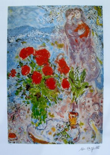 """MARC CHAGALL """"RED BOUQUET WITH LOVERS"""" Facsimile Signed & Numbered Lithograph"""