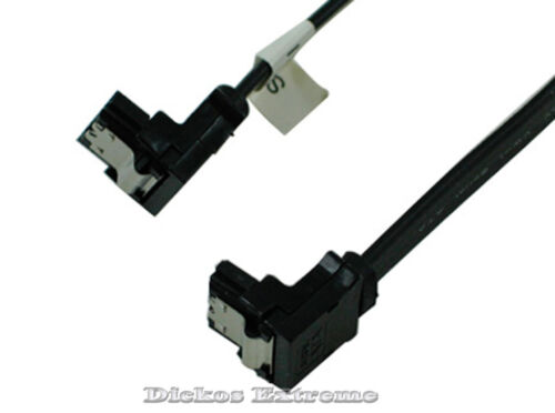 SATA-III (3) 45cm 6Gbps DATA Cable w-Latch - 2 x End 90° - Black