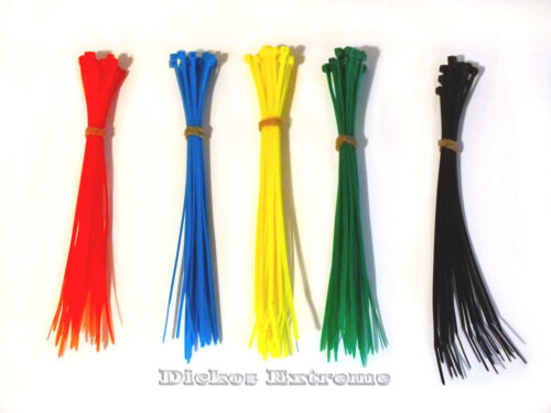50 x Multi Coloured Nylon Cable Ties-150mm -10 x Red, Blue, Yellow, Green, Black