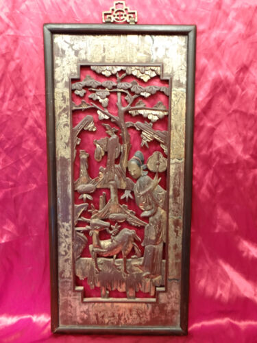 Art deco Oriental wood carved panel Plaque of Lady with deer tree Museum Quality