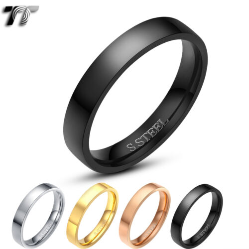 TT 4mm Polished Stainless Steel Wedding Band Ring Mens &Womens Size 5-14(R112)