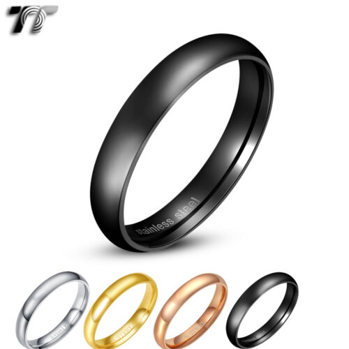 TT 4mm Mirror Polished Stainless Steel Wedding Band Ring Men & Womens (R120)