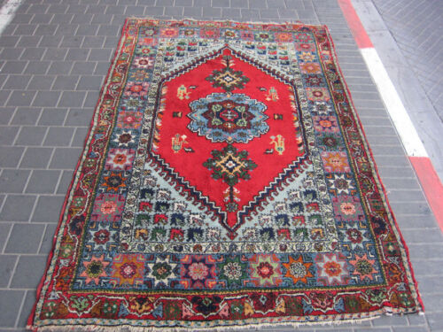 VINTAGE hand made an old Moroccan old rug carpet 217x154cm/ 85.4x60.6-inches