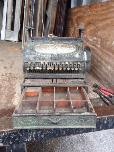 Large National Brass Cash Register Antique