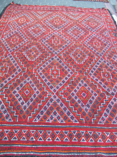 ORIGINAL ANTIQUE MOROCCAN WOOL CARPET HAND MADE 305x200-cm / 120.0x78.7-inches