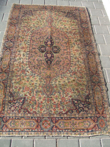 ANTIQUE TURKISH CARPET RUG WOOL  HAND WOVEN 150x90-cm / 59.0x35.4-inches