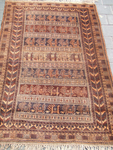 ANTIQUE BALUCH WOOL RUG CARPET HAND WOVEN 140x90-cm / 55.1x35.4-inches