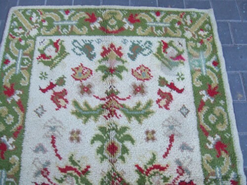 ORIGINAL ANTIQUE MOROCCAN WOOL RUG CARPET HAND MADE 177x110-cm /69.6x43.3-inches