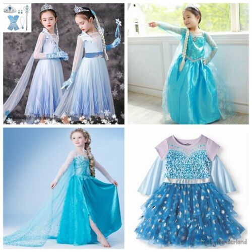 Girl Frozen Elsa Anna Costume Party Birthday Christmas Tutu Dress 1-12Y NO Crown <br/> No Crown is included due to clearance price!