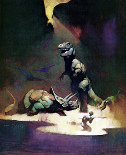 FRANK FRAZETTA Fantasy Art Prints Canvas Textured Finish Tyrannosaurus Rex2.3