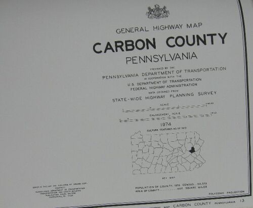1974 Large Wall map of Carbon County
