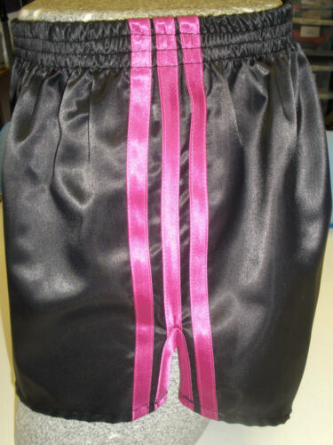 Retro Nylon Satin Football Shorts S - 4XL, Black - Pink