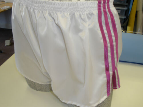 Retro Nylon Satin Football Shorts S - 4XL, White - Pink
