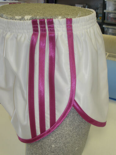 Retro Nylon Satin Sprinter Shorts S - 4XL, White - Pink