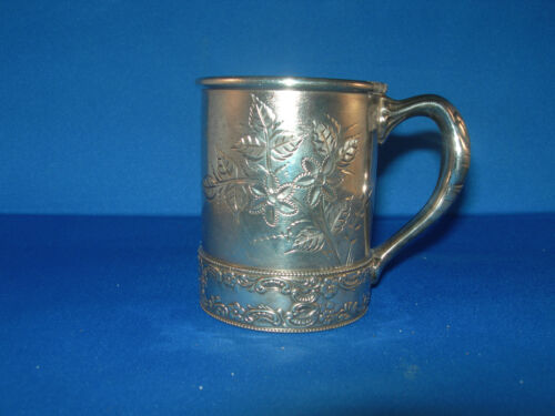 """""""Wilcox Silverplate Co."""" QUADRUPLE Plate Silver Childs Cup W/Handle #3987 OLD!"""